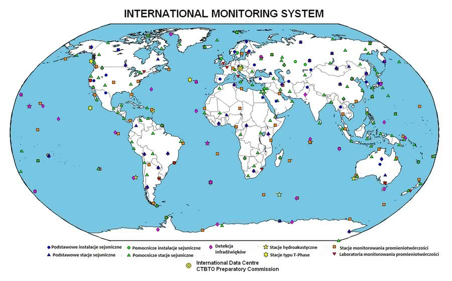 Globalna mapa ukazująca International Monitoring System